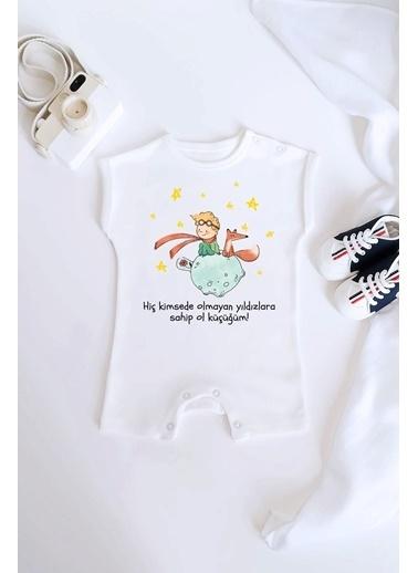 Happy Onesie Co Küçük Prens Organik Baskılı Kısa Tulum Romper Beyaz